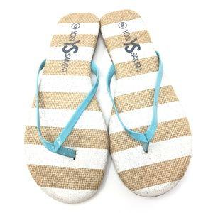 New Yosi Samra Roee Blue Stripe Flip Flops Size: 6